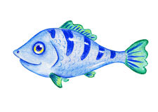 Watercolor blue fish. Hand-drawn cartoon illustration. Isolated on white Royalty Free Stock Photo