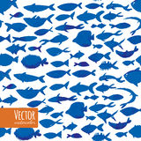 Watercolor blue fishes. Royalty Free Stock Images