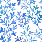 Watercolor blue flora Royalty Free Stock Image