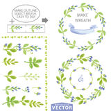 Watercolor blue floral brushes and wreath set template Stock Photo