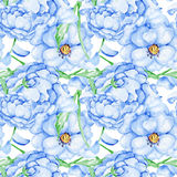 Watercolor blue flower pattern Royalty Free Stock Images