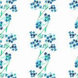 Watercolor blue flower. Seamless pattern Royalty Free Stock Photo