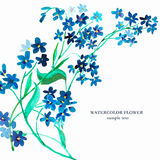 Watercolor blue flower. Seamless pattern Stock Photo