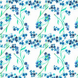 Watercolor blue flower. Seamless pattern Royalty Free Stock Images
