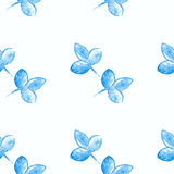 Watercolor blue flower silhouette closeup  Royalty Free Stock Images