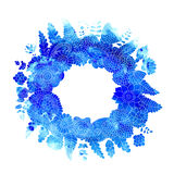 Watercolor blue flower wreath Stock Images