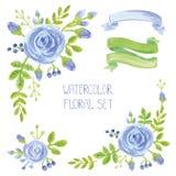 Watercolor blue flowers bouquet ,corners decor set Stock Photos