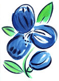 Watercolor blue flowers impression painting. In white background Royalty Free Illustration