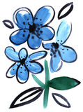 Watercolor blue flowers impression painting. In white background Stock Illustration