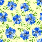 Watercolor blue flowers with leaves isolated on yellow background. Hand painted sketch illustration vector illustration