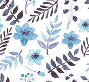 Watercolor Blue Flowers And Leaves Seamless Pattern. Watercolor Blue Flowers And Dark Leaves Seamless Pattern Stock Image