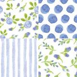 Watercolor blue flowers,strips polka dot seamless pattern Royalty Free Stock Image