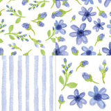Watercolor blue  flowers,strips seamless pattern.Cute set Royalty Free Stock Photo