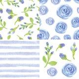 Watercolor blue flowers,strips seamless pattern set stock illustration