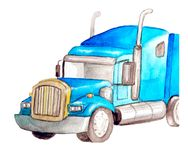Watercolor front semi-trailer truck as a tractor unit and semi-trailer to carry freight in white background isolated with cop. Watercolor blue front semi-trailer royalty free illustration