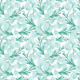 Watercolor Blue And Green Foliage Seamless Pattern Royalty Free Stock Image