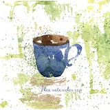 Watercolor blue hand drawn cup with grunge. Watercolor blue hand drawn cup grunge textures color splash Royalty Free Stock Image