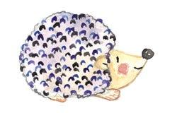 Watercolor blue hedgehog royalty free stock photos