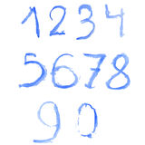 Watercolor blue ice numbers Stock Images