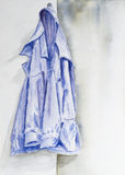 Watercolor of a blue jacket royalty free illustration