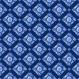 Watercolor blue lace pattern. Watercolor abstract royal blue seamless pattern, moroccan tiling ornament. Delicate filigree openwork lace pattern. Blue velvet Royalty Free Stock Image