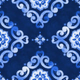 Watercolor blue lace pattern. Watercolor abstract royal blue seamless pattern, moroccan tiling ornament. Delicate filigree openwork lace pattern. Blue velvet Stock Photo