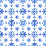 Watercolor blue lace pattern. Delft blue style seamless pattern. Watercolor vintage filigree cobalt blue ornament for textile, fabric, wallpaper, tableware Stock Photos