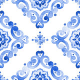 Watercolor blue lace pattern. Watercolor moroccan blue seamless pattern, indigo renaissance tiling ornament. Royal blue abstract filigree background. Delicate Royalty Free Stock Photos