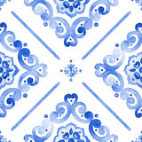 Watercolor blue lace pattern. Watercolor moroccan blue seamless pattern, indigo renaissance tiling ornament. Royal blue abstract filigree background. Delicate Royalty Free Stock Image