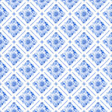 Watercolor blue lace pattern stock photography