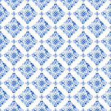 Watercolor blue lace pattern. Watercolor royal blue filigree seamless pattern, navy blue moroccan tiling ornament. Delicate abstract openwork lace pattern Royalty Free Stock Image
