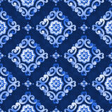Watercolor blue lace pattern. Watercolor royal blue moroccan seamless pattern, oriental tiling ornament. Delicate filigree openwork lace pattern. Blue velvet Stock Photo
