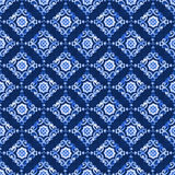 Watercolor blue lace pattern. Watercolor royal blue velour seamless pattern, renaissance tiling ornament. Delicate filigree openwork lace pattern. Blue velvet Royalty Free Stock Image