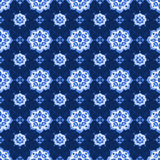 Watercolor blue lace pattern. Watercolor royal blue velour seamless pattern, renaissance tiling ornament. Delicate filigree openwork lace. Blue velvet revival Royalty Free Stock Photo