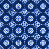Watercolor blue lace pattern. Watercolor royal blue velour seamless pattern, renaissance tiling ornament. Delicate filigree openwork lace. Blue velvet revival Royalty Free Stock Photography