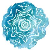 Watercolor blue lace Stock Photo