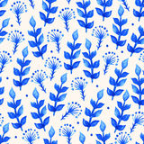 Watercolor blue leaves Royalty Free Stock Photos