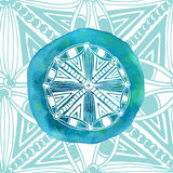 Watercolor blue mandala with ornamental background. Asian style. Vector logo or icon Royalty Free Stock Images