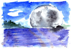 Watercolor blue moon night river fantasy landscape Stock Photos