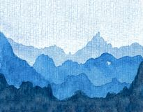 Watercolor of a blue mountain range. stock illustration