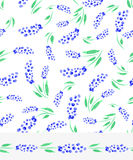 Watercolor blue muscari flowers seamless pattern Royalty Free Stock Photos