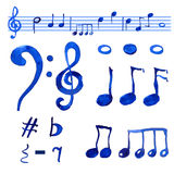 Watercolor blue  musical notes set Stock Images