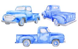 Free Watercolor Blue Old Car Pickup. Front View, Side, Back. On White Background Stock Images - 158347424