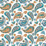 Watercolor Blue And Orange Paisley Seamless Pattern Royalty Free Stock Image