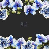 Watercolor blue orchids card template, floral border. Hand painted on a dark background Royalty Free Stock Photos