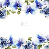 Watercolor blue orchids card template, floral border. Hand painted on a white background Royalty Free Stock Image