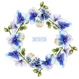 Watercolor blue orchids wreath. Hand painted on a white background Royalty Free Stock Photos
