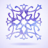 Watercolor  blue painted Christmas snowflake Stock Image
