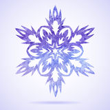 Watercolor blue painted Christmas snowflake Royalty Free Stock Photos