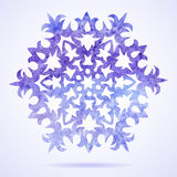 Watercolor blue painted Christmas snowflake Stock Photos